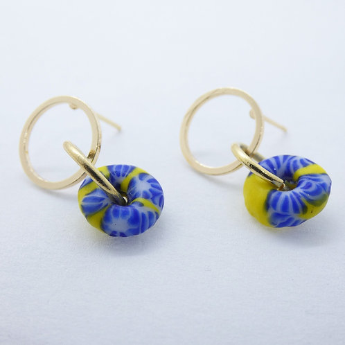 ahwenneɛ 7 handmade recycled glass bead and gold plated stud earrings