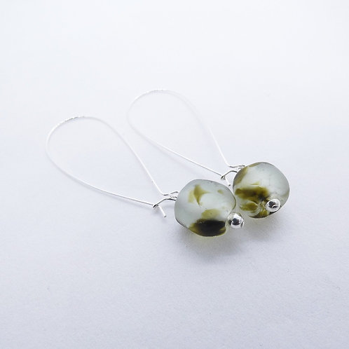 nsuo 2 handmade recycled glass bead and sterling silver earrings