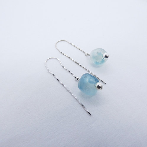 nsuo 1 handmade recycled glass beads and sterling silver earrings