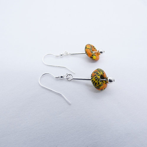 ahwenneɛ 2 recycled glass beads and sterling silver earrings