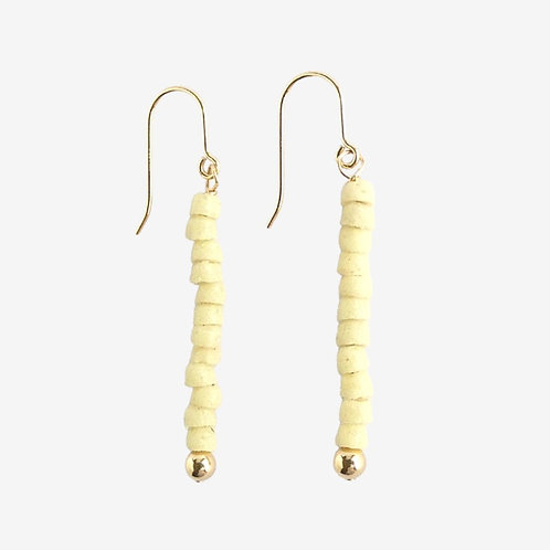 Gold filled earrings with a stack of tiny cream handmade glass beads