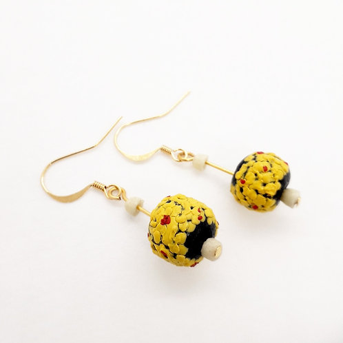 amammerɛ handmade recycled glass beads and gold plated earrings