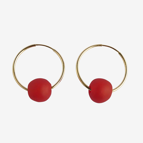 mmi3nsa gold filled hoop earrings with small red beads