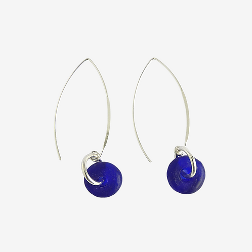 mmi3nsa sterling silver earrings with cobalt blue beads
