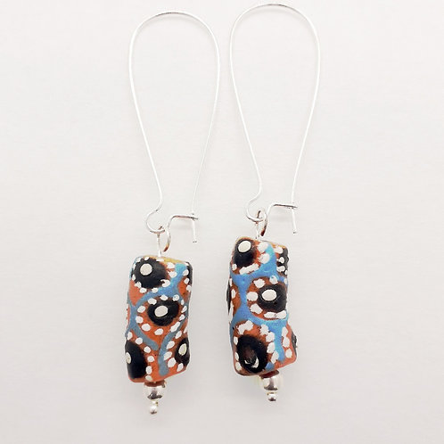 ɛboɔ wo nsutene hand painted recycled glass beads and silver plated earrings