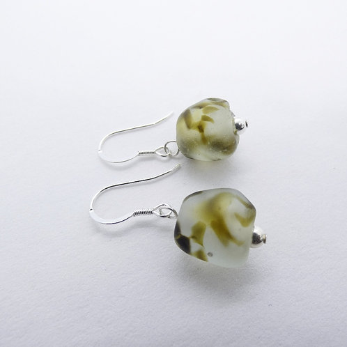 nsuo 2 handmade recycled glass beads and sterling silver earrings