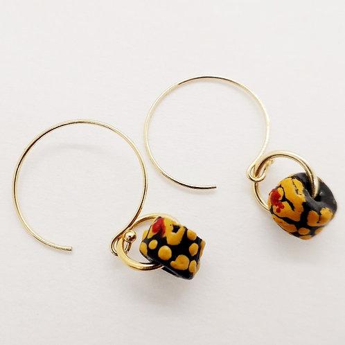 ogyatanaa, handmade recycled glass bead gold plated earrings