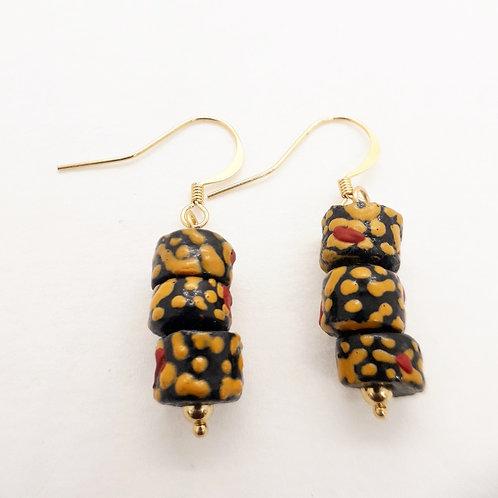 ogyatanaa handmade recycled glass beads and gold plated earrings