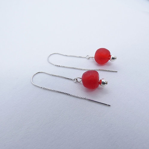 mogya handmade recycled bead and sterling silver earrings