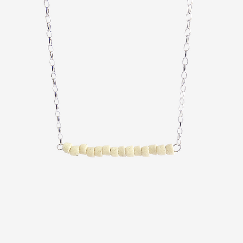mmi3nsa recycled silver and tinny  cream recycled glass bead necklace