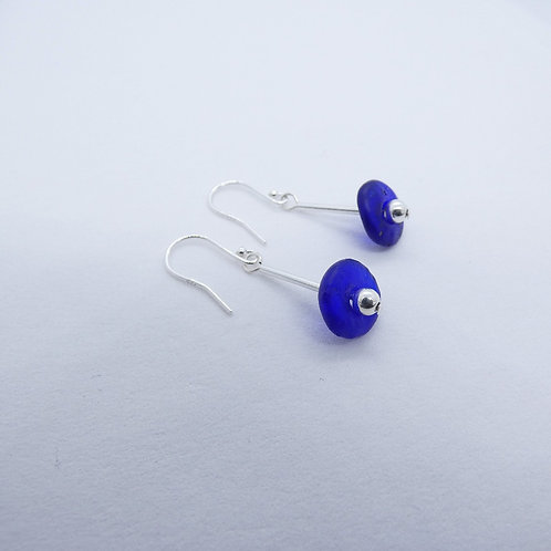ahwenneɛ 12 recycled glass beads and sterling silver earrings