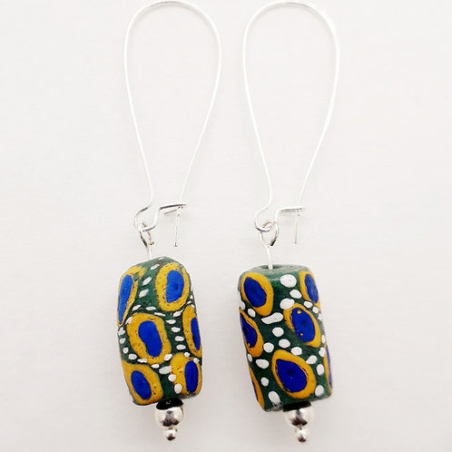 kwaeɛ ɔtadeɛ hand painted recycled glass beads and  silver plated earrings