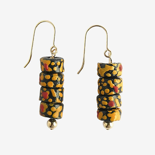 Gold filled earrings with small handmade glass beads