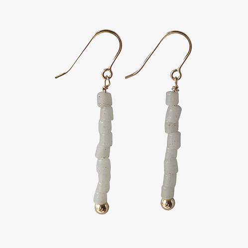 Gold plated earrings with a stack of tiny beads