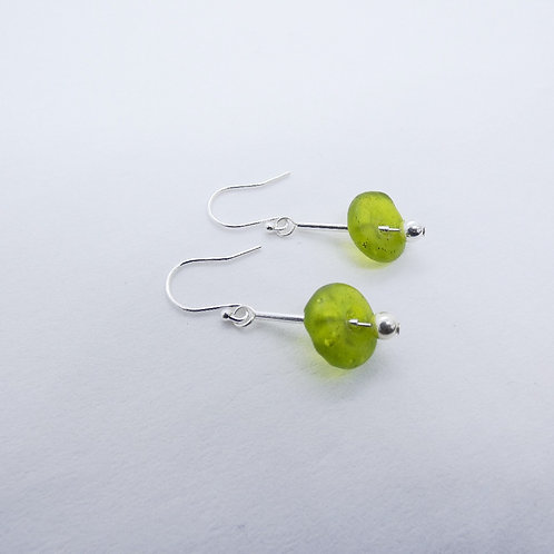 ahwenneɛ 15 recycled glass beads and sterling silver earrings
