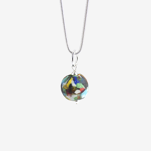 mmi3nsa sterling silver snake chain with a multi coloured glass bead pendant