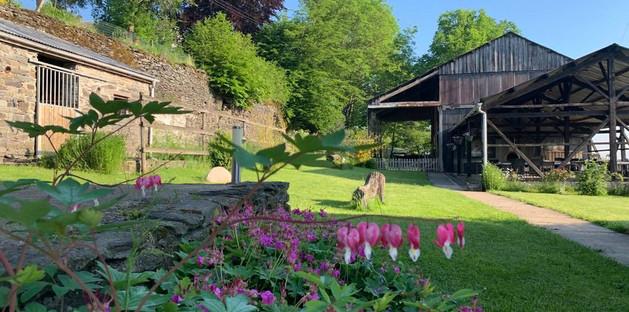 Jardin avec vue sur grange et terrasse couverte