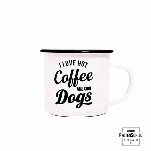 Pfotenschild Emaille Becher Hot Coffee - Cool Dogs