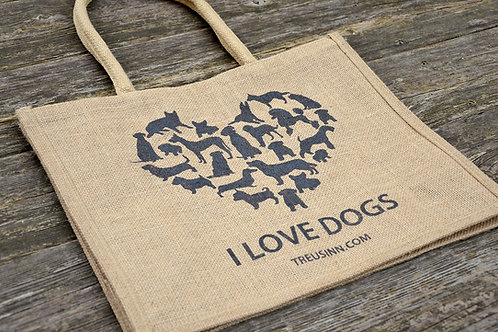 Treusinn Jute Shopper I love Dogs