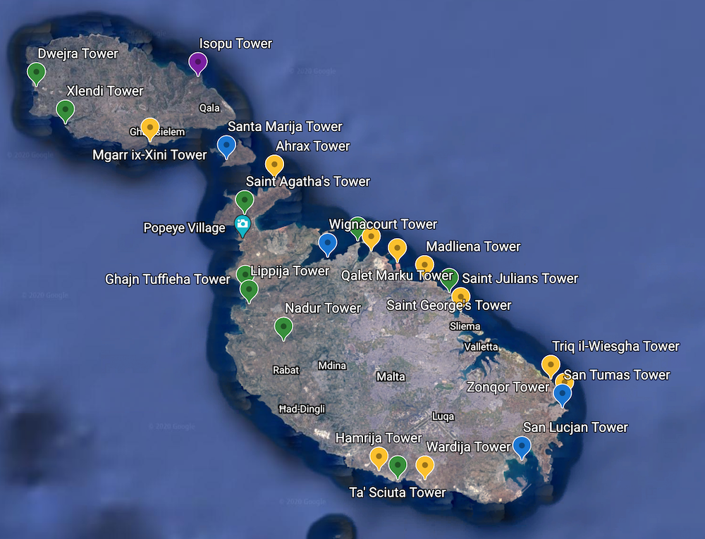Map marking the location of the towers in Malta