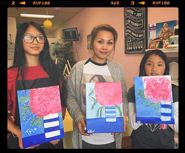 Some of Saturday's Talent__#Art #Artist #PaintAndSip #PaintAndPour #CocktailsAndCanvases #MommyAndMe