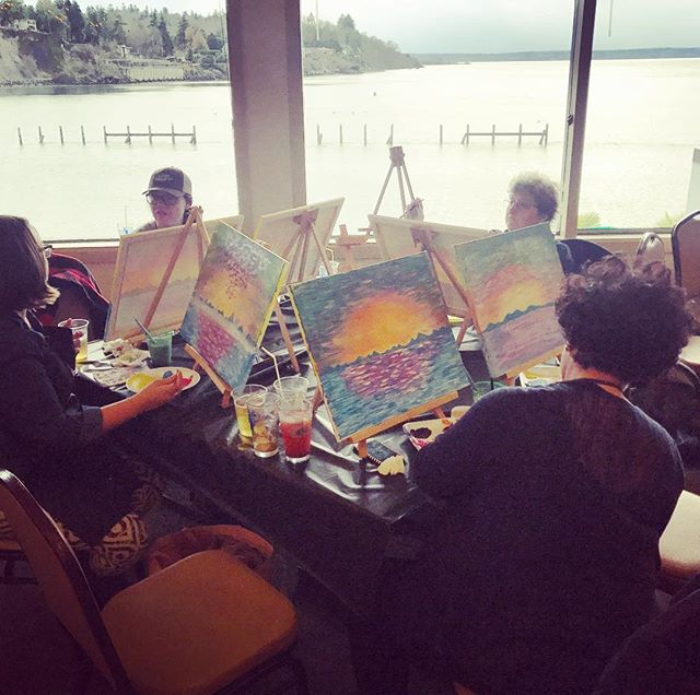 Painting sunsets at sunset🌅__#boomerang #ballard #ballardelks #elkslodge #seattle #paintandpour #ax