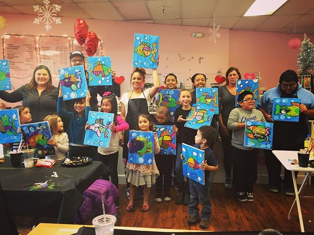 Kids Paint & Pour _ Confetti Confection in Tukwila this one went so smoothly