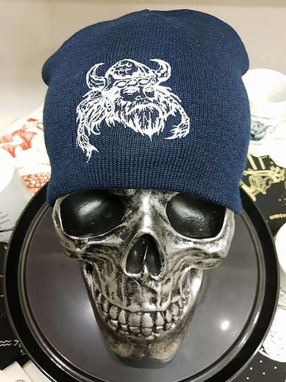 Navy Knit Beanie Cap - Viking Head