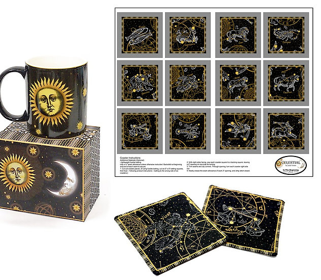 Celestial Mug with Astrology Fabric Panel