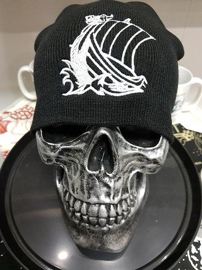 Black Knit Beanie Cap - Viking Head