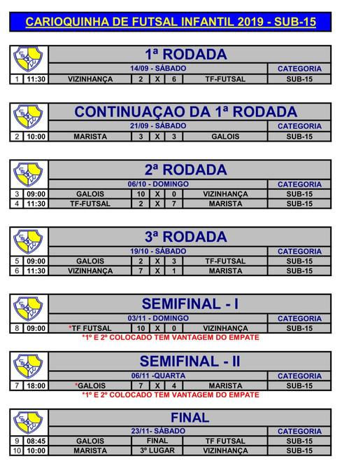 TABELA DO CAMPEONATO CARIOQUINHA 2019 -