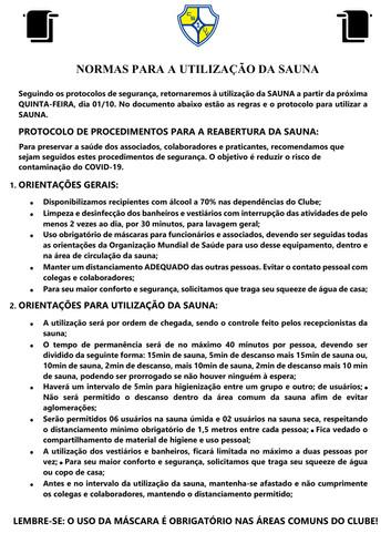 NORMAS PARA A UTILIZAÇÃO DA SAUNA 2021-1
