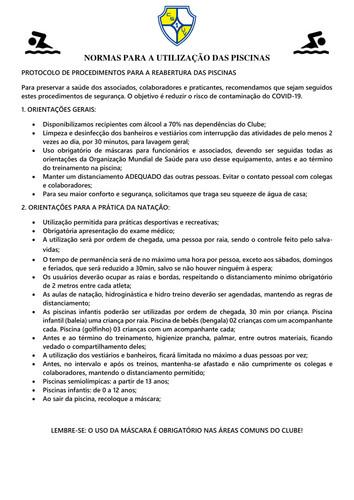 NORMAS PARA A UTILIZAÇÃO DAS PISCINAS291