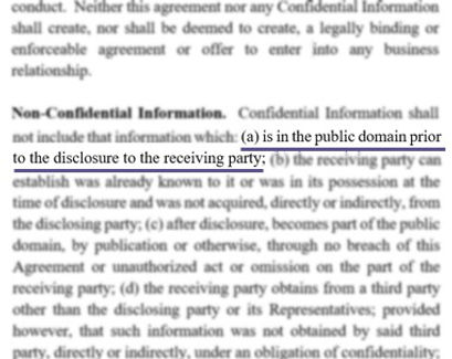 Sifting for a Confidential Information Definition Exception clause