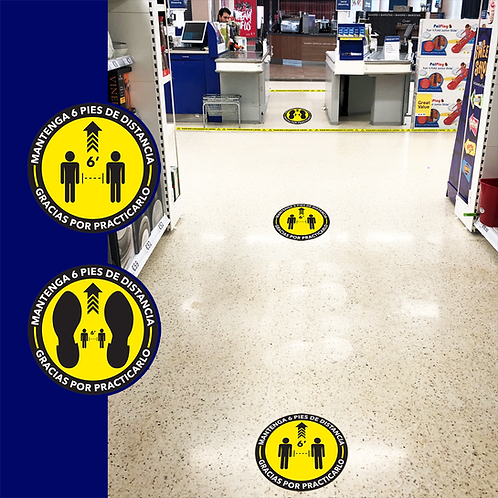 "Social Distance Sticker para Piso (Floor Graphics) 18"""