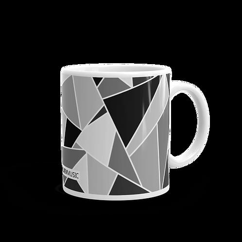 Glossy Mug with Black and Gray Geometric Pattern