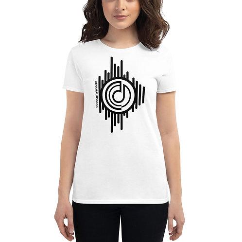 Women's White Short Sleeve T-shirt with Black AShamaluevMusic Logo