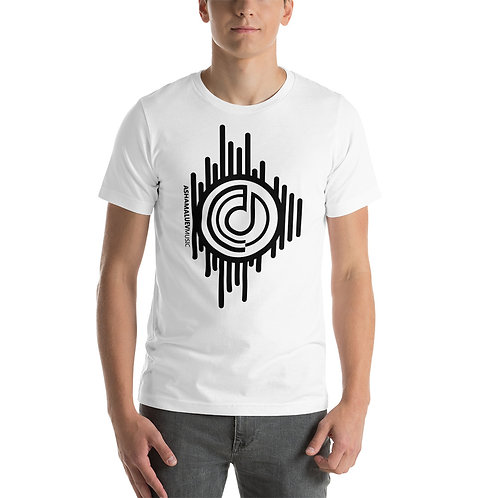 Men's White Short-Sleeve T-Shirt with Black AShamaluevMusic Logo