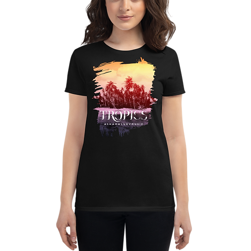 Women's Black Short Sleeve T-shirt with Tropical Picture