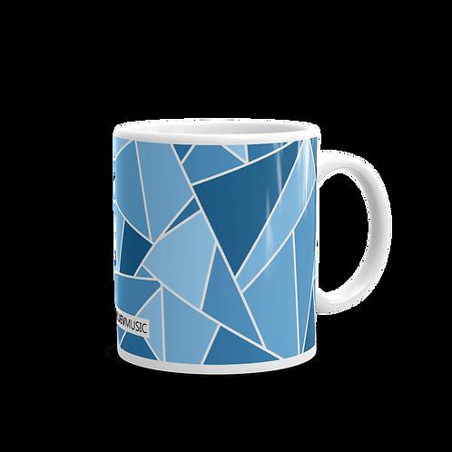 White Glossy Mug with Dark Blue and Light Blue Geometric Pattern