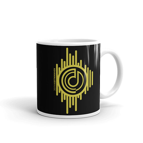 Black Glossy Mug with Gold AShamaluevMusic Logo