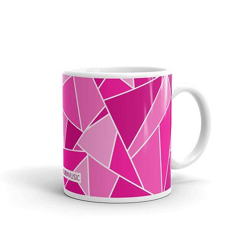 White Glossy Mug with Violet Geometric Pattern