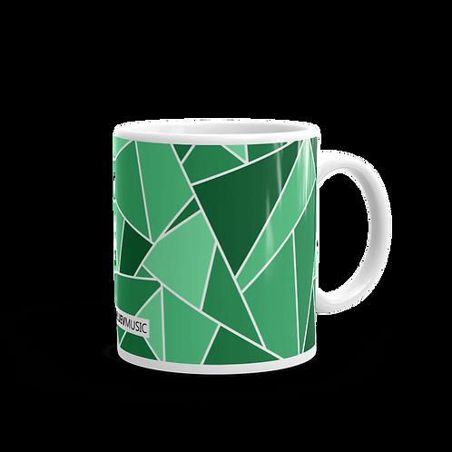White Glossy Mug with Dark Green and Light Green Geometric Pattern