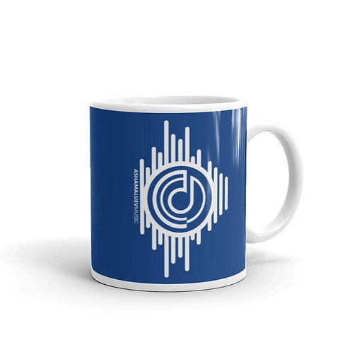 Blue Mug with AShamaluevMusic Logo