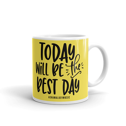 Yellow glossy mug with a quote 'Today Will Be The Best Day'
