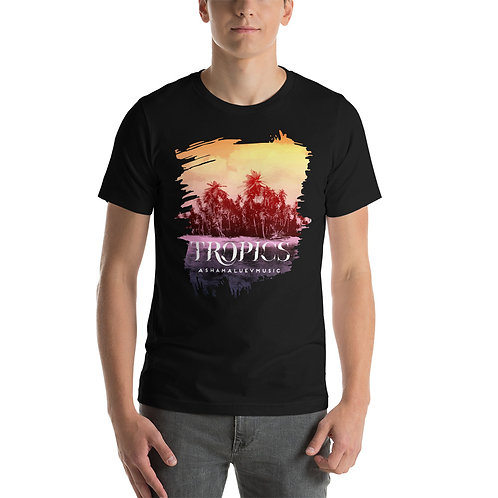 Men's White Short-Sleeve T-Shirt with Tropical Picture