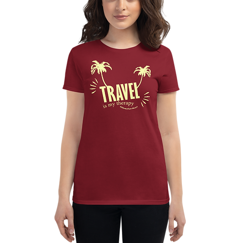 Women's Short Sleeve T-shirt with Dark Colors | Travel is my therapy