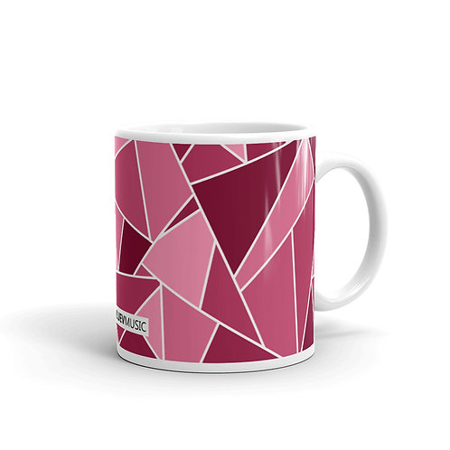 White Glossy Mug with Burgundy Geometric Pattern
