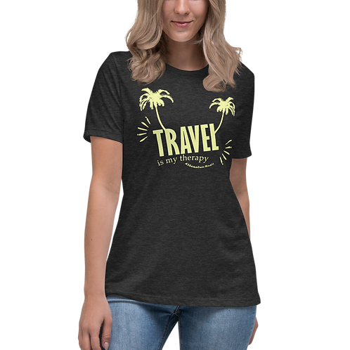 Women's Relaxed T-Shirt with Dark Colors | Travel is my therapy