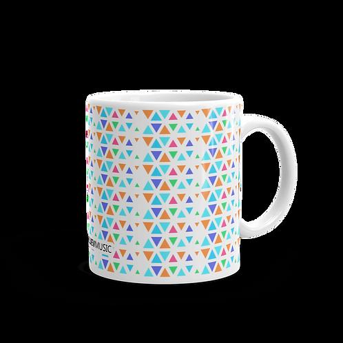 Glossy Mug with Multicolored Geometric Pattern
